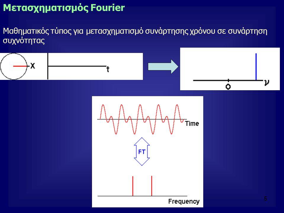 5 Μετασχηματισμός Fourier Μαθηματικός τύπος για μετασχηματισμό συνάρτησης χρόνου σε συνάρτηση συχνότητας