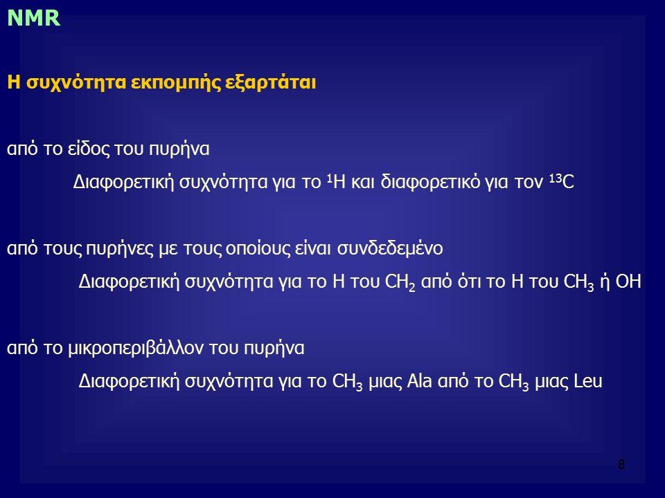 8 NMR Η συχνότητα εκπομπής εξαρτάται από το είδος του πυρήνα Διαφορετική συχνότητα για το 1 Η και διαφορετικό για τον 13 C από τους πυρήνες με τους οποίους είναι συνδεδεμένο Διαφορετική συχνότητα για το Η του CH 2 από ότι το Η του CH 3 ή ΟΗ από το μικροπεριβάλλον του πυρήνα Διαφορετική συχνότητα για το CH 3 μιας Ala από το CH 3 μιας Leu