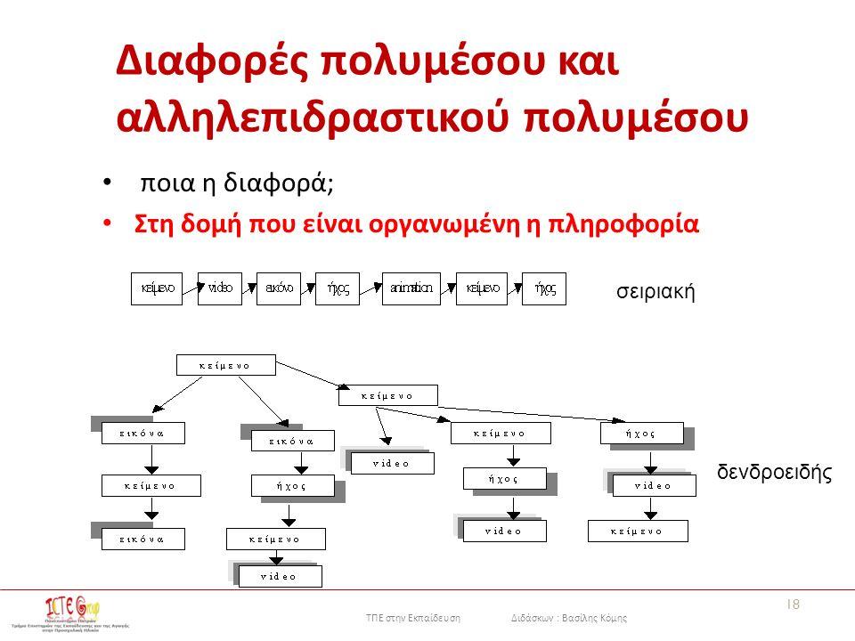 ΤΠΕ στην Εκπαίδευση Διδάσκων : Βασίλης Κόμης Διαφορές πολυμέσου και αλληλεπιδραστικού πολυμέσου ποια η διαφορά; Στη δομή που είναι οργανωμένη η πληροφορία 18 σειριακή δενδροειδής