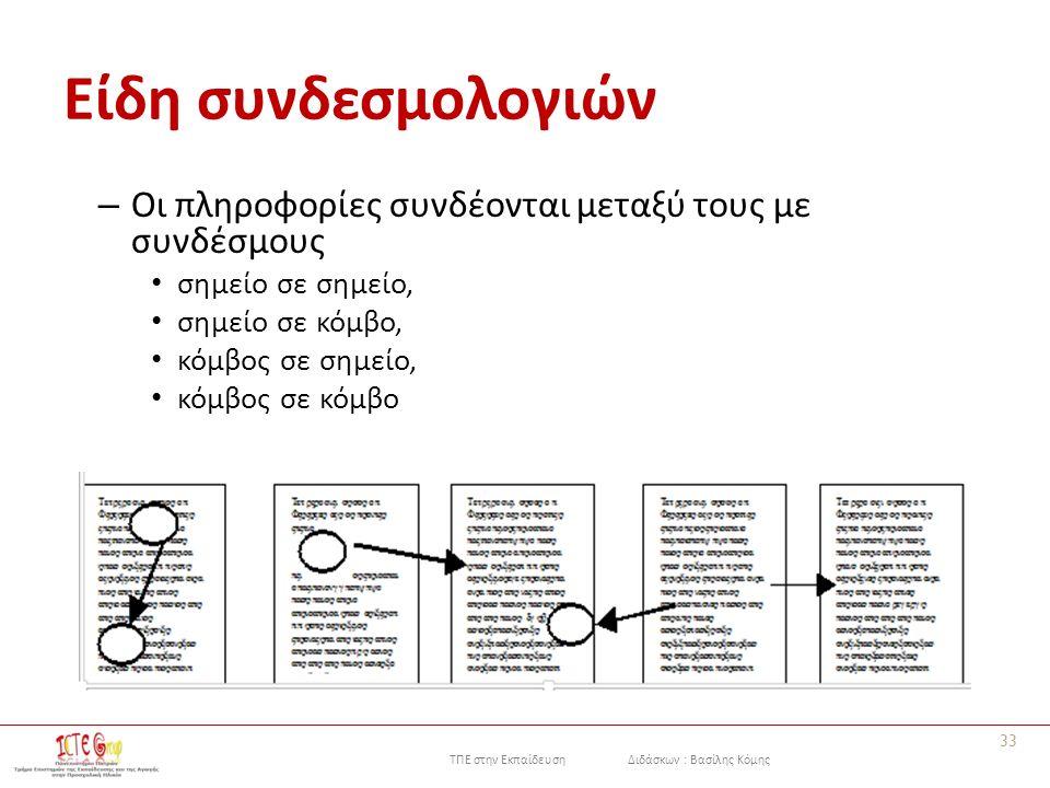 ΤΠΕ στην Εκπαίδευση Διδάσκων : Βασίλης Κόμης Είδη συνδεσμολογιών – Οι πληροφορίες συνδέονται μεταξύ τους με συνδέσμους σημείο σε σημείο, σημείο σε κόμβο, κόμβος σε σημείο, κόμβος σε κόμβο 33