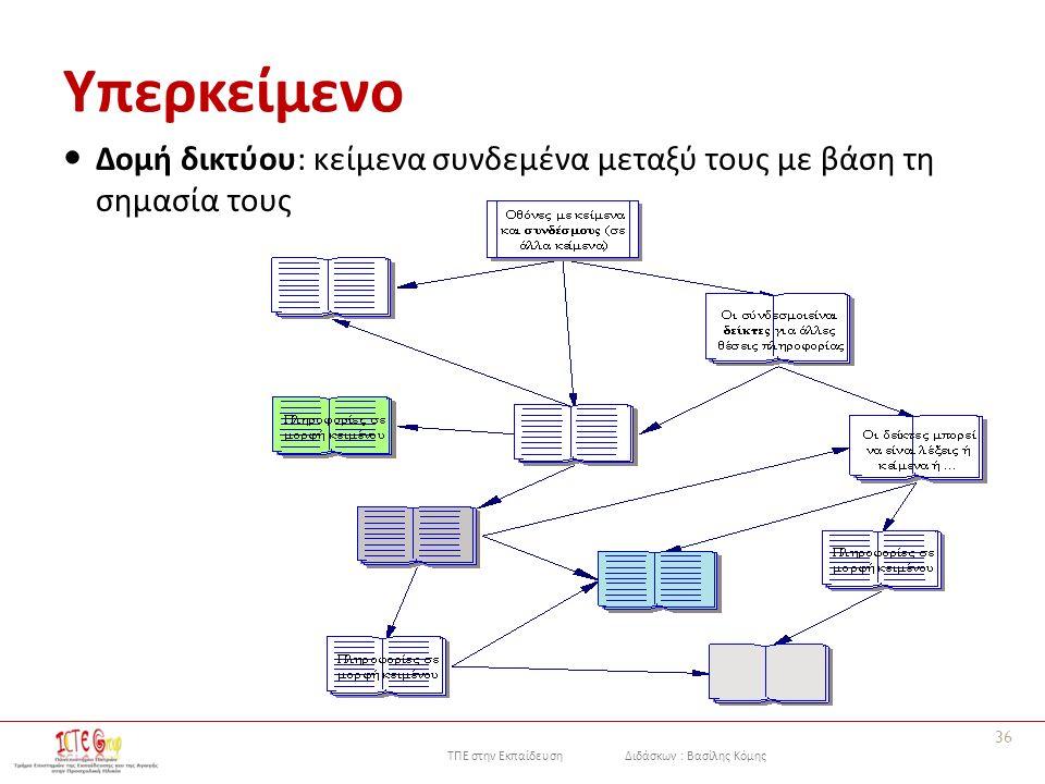 ΤΠΕ στην Εκπαίδευση Διδάσκων : Βασίλης Κόμης Υπερκείμενο 36 Δομή δικτύου: κείμενα συνδεμένα μεταξύ τους με βάση τη σημασία τους