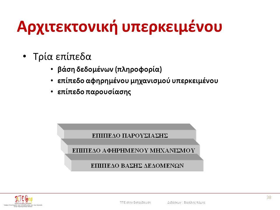 ΤΠΕ στην Εκπαίδευση Διδάσκων : Βασίλης Κόμης Αρχιτεκτονική υπερκειμένου Τρία επίπεδα βάση δεδομένων (πληροφορία) επίπεδο αφηρημένου μηχανισμού υπερκειμένου επίπεδο παρουσίασης 38