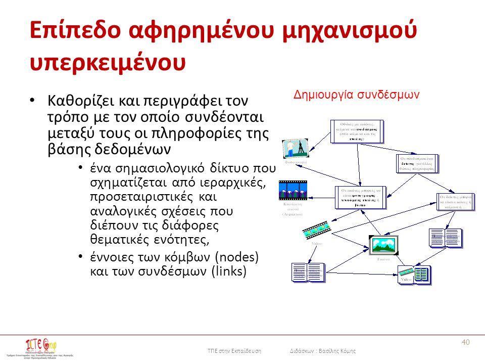 ΤΠΕ στην Εκπαίδευση Διδάσκων : Βασίλης Κόμης Επίπεδο αφηρημένου μηχανισμού υπερκειμένου Καθορίζει και περιγράφει τον τρόπο με τον οποίο συνδέονται μεταξύ τους οι πληροφορίες της βάσης δεδομένων ένα σημασιολογικό δίκτυο που σχηματίζεται από ιεραρχικές, προσεταιριστικές και αναλογικές σχέσεις που διέπουν τις διάφορες θεματικές ενότητες, έννοιες των κόμβων (nodes) και των συνδέσμων (links) 40 Δημιουργία συνδέσμων