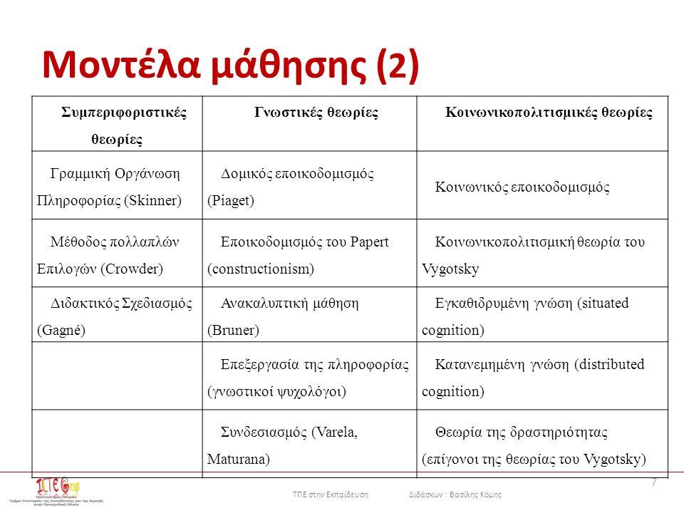 ΤΠΕ στην Εκπαίδευση Διδάσκων : Βασίλης Κόμης Μοντέλα μάθησης ( 2 ) 7 Συμπεριφοριστικές θεωρίες Γνωστικές θεωρίεςΚοινωνικοπολιτισμικές θεωρίες Γραμμική Οργάνωση Πληροφορίας (Skinner) Δομικός εποικοδομισμός (Piaget) Κοινωνικός εποικοδομισμός Μέθοδος πολλαπλών Επιλογών (Crowder) Εποικοδομισμός του Papert (constructionism) Κοινωνικοπολιτισμική θεωρία του Vygotsky Διδακτικός Σχεδιασμός (Gagné) Ανακαλυπτική μάθηση (Bruner) Εγκαθιδρυμένη γνώση (situated cognition) Επεξεργασία της πληροφορίας (γνωστικοί ψυχολόγοι) Κατανεμημένη γνώση (distributed cognition) Συνδεσιασμός (Varela, Maturana) Θεωρία της δραστηριότητας (επίγονοι της θεωρίας του Vygotsky)