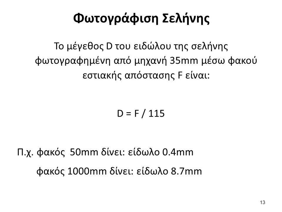 Φωτογράφιση Σελήνης Το μέγεθος D του ειδώλου της σελήνης φωτογραφημένη από μηχανή 35mm μέσω φακού εστιακής απόστασης F είναι: D = F / 115 Π.χ.