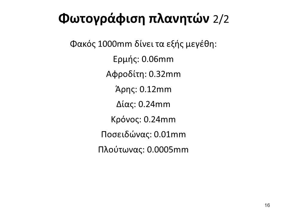 Φωτογράφιση πλανητών 2/2 Φακός 1000mm δίνει τα εξής μεγέθη: Ερμής: 0.06mm Αφροδίτη: 0.32mm Άρης: 0.12mm Δίας: 0.24mm Κρόνος: 0.24mm Ποσειδώνας: 0.01mm Πλούτωνας: 0.0005mm 16