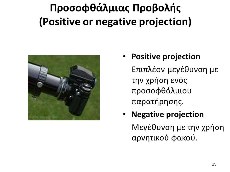 Προσοφθάλμιας Προβολής (Positive or negative projection) Positive projection Επιπλέον μεγέθυνση με την χρήση ενός προσοφθάλμιου παρατήρησης.