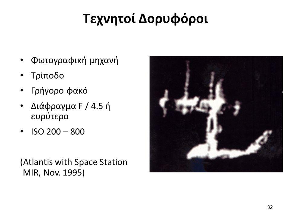 Τεχνητοί Δορυφόροι Φωτογραφική μηχανή Τρίποδο Γρήγορο φακό Διάφραγμα F / 4.5 ή ευρύτερο ISO 200 – 800 (Atlantis with Space Station MIR, Nov.