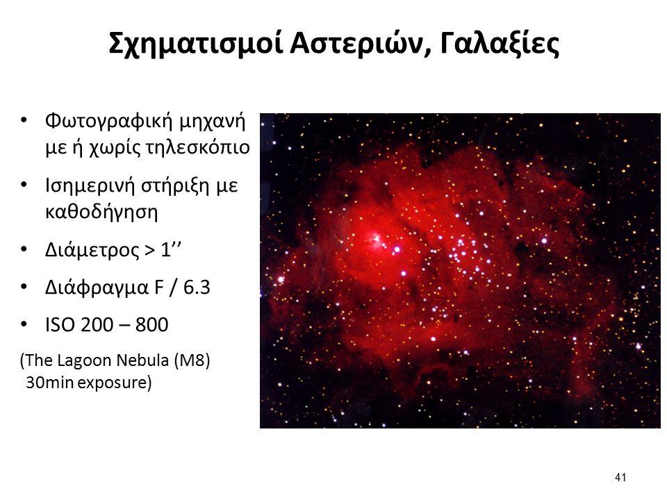 Σχηματισμοί Αστεριών, Γαλαξίες Φωτογραφική μηχανή με ή χωρίς τηλεσκόπιο Ισημερινή στήριξη με καθοδήγηση Διάμετρος > 1'' Διάφραγμα F / 6.3 ISO 200 – 800 (The Lagoon Nebula (M8) 30min exposure) 41