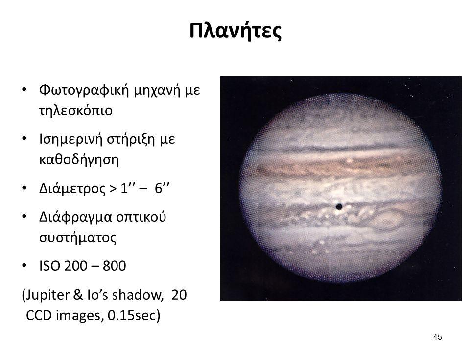 Πλανήτες Φωτογραφική μηχανή με τηλεσκόπιο Ισημερινή στήριξη με καθοδήγηση Διάμετρος > 1'' – 6'' Διάφραγμα οπτικού συστήματος ISO 200 – 800 (Jupiter & Io's shadow, 20 CCD images, 0.15sec) 45