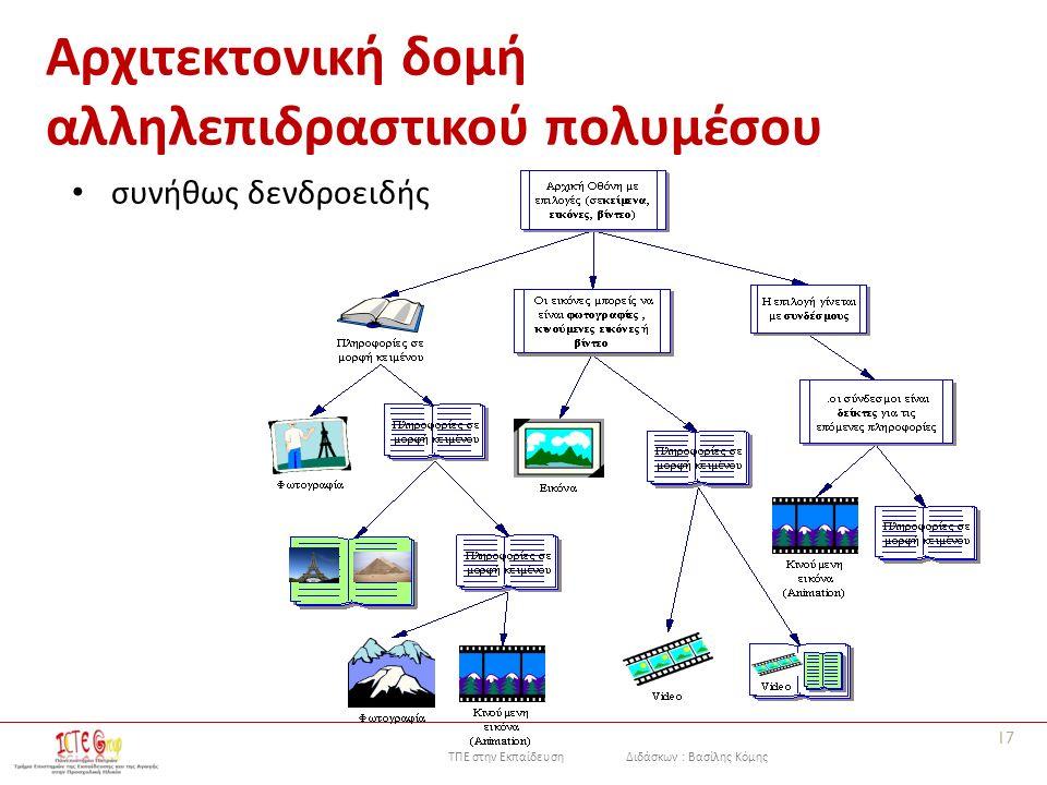 ΤΠΕ στην Εκπαίδευση Διδάσκων : Βασίλης Κόμης Αρχιτεκτονική δομή αλληλεπιδραστικού πολυμέσου συνήθως δενδροειδής 17