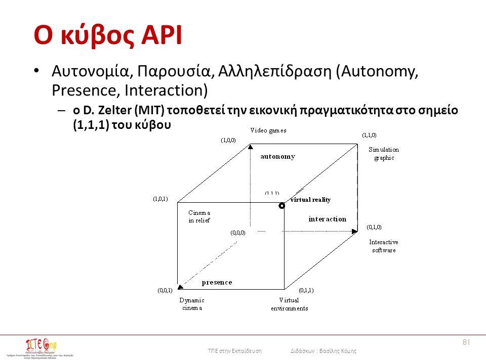 ΤΠΕ στην Εκπαίδευση Διδάσκων : Βασίλης Κόμης Ο κύβος API Αυτονομία, Παρουσία, Αλληλεπίδραση (Autonomy, Presence, Interaction) – o D.
