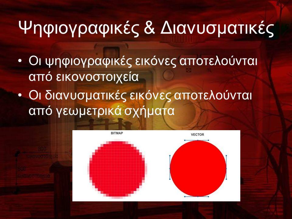 Ψηφιογραφικές & Διανυσματικές Οι ψηφιογραφικές εικόνες αποτελούνται από εικονοστοιχεία Οι διανυσματικές εικόνες αποτελούνται από γεωμετρικά σχήματα
