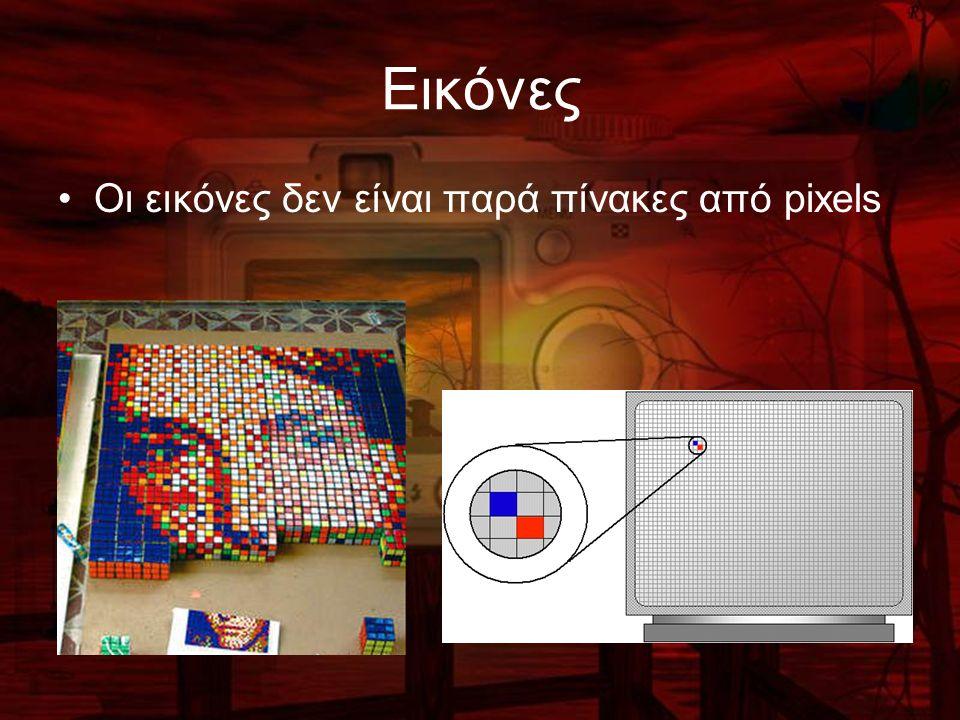Εικόνες Οι εικόνες δεν είναι παρά πίνακες από pixels