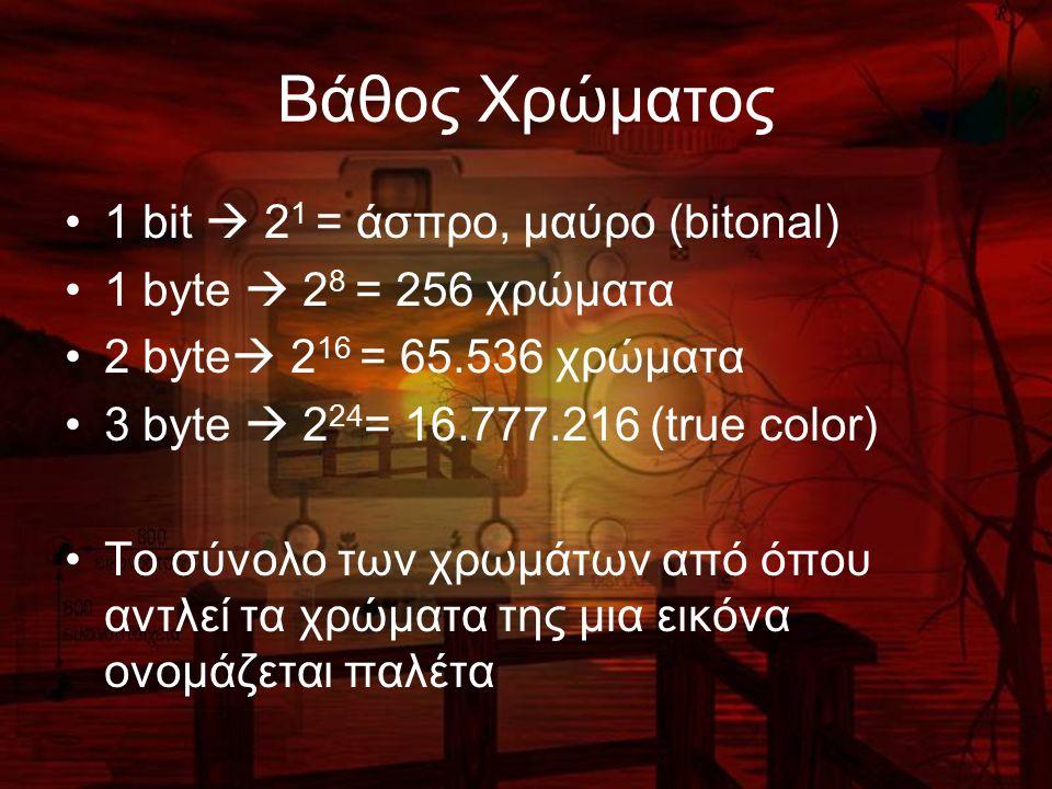 Βάθος Χρώματος 1 bit  2 1 = άσπρο, μαύρο (bitonal) 1 byte  2 8 = 256 χρώματα 2 byte  2 16 = 65.536 χρώματα 3 byte  2 24 = 16.777.216 (true color) Το σύνολο των χρωμάτων από όπου αντλεί τα χρώματα της μια εικόνα ονομάζεται παλέτα