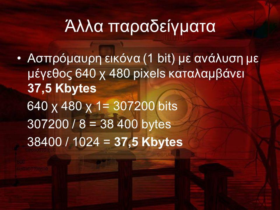 Άλλα παραδείγματα Ασπρόμαυρη εικόνα (1 bit) με ανάλυση με μέγεθος 640 χ 480 pixels καταλαμβάνει 37,5 Kbytes 640 χ 480 χ 1= 307200 bits 307200 / 8 = 38 400 bytes 38400 / 1024 = 37,5 Kbytes