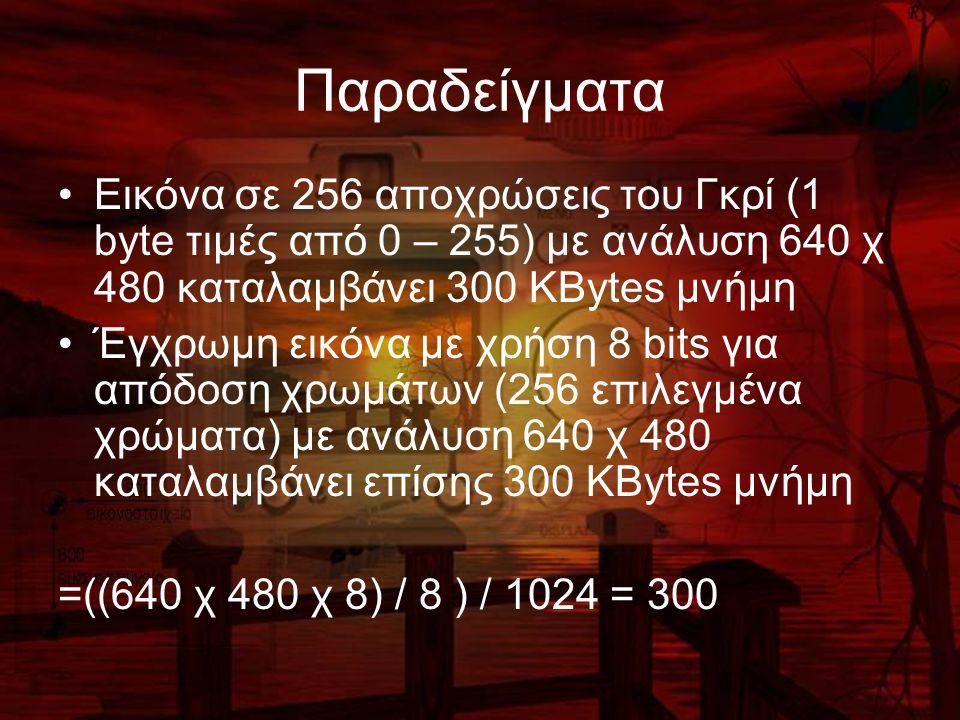Παραδείγματα Εικόνα σε 256 αποχρώσεις του Γκρί (1 byte τιμές από 0 – 255) με ανάλυση 640 χ 480 καταλαμβάνει 300 ΚBytes μνήμη Έγχρωμη εικόνα με χρήση 8 bits για απόδοση χρωμάτων (256 επιλεγμένα χρώματα) με ανάλυση 640 χ 480 καταλαμβάνει επίσης 300 ΚBytes μνήμη =((640 χ 480 χ 8) / 8 ) / 1024 = 300