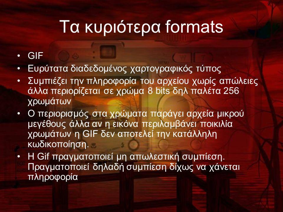 Τα κυριότερα formats GIF Ευρύτατα διαδεδομένος χαρτογραφικός τύπος Συμπιέζει την πληροφορία του αρχείου χωρίς απώλειες άλλα περιορίζεται σε χρώμα 8 bi