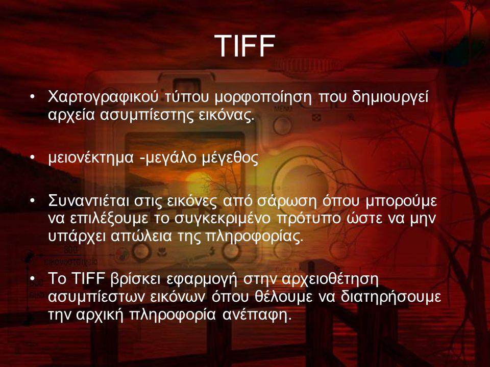 TIFF Χαρτογραφικού τύπου μορφοποίηση που δημιουργεί αρχεία ασυμπίεστης εικόνας. μειονέκτημα -μεγάλο μέγεθος Συναντιέται στις εικόνες από σάρωση όπου μ