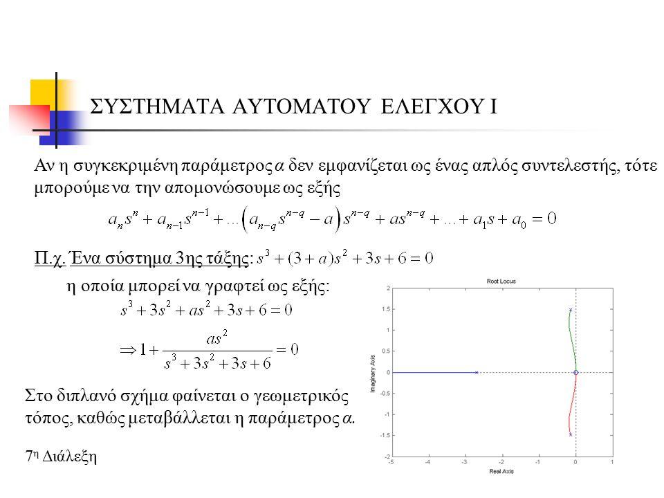 ΣΥΣΤΗΜΑΤΑ ΑΥΤΟΜΑΤΟΥ ΕΛΕΓΧΟΥ Ι 7 η Διάλεξη Αν η συγκεκριμένη παράμετρος α δεν εμφανίζεται ως ένας απλός συντελεστής, τότε μπορούμε να την απομονώσουμε ως εξής Π.χ.