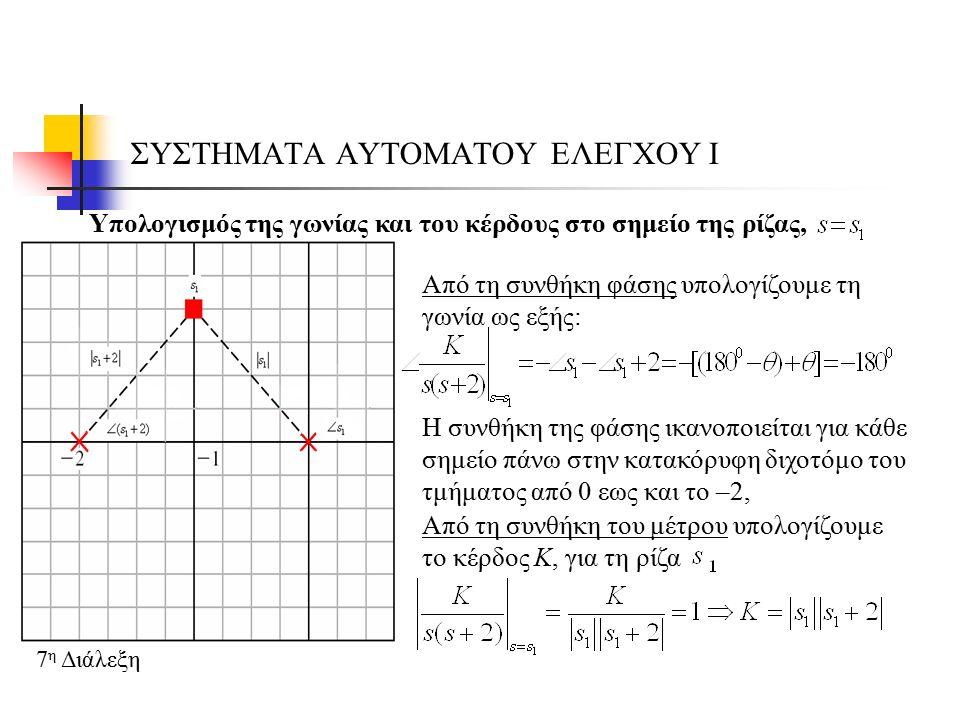 ΣΥΣΤΗΜΑΤΑ ΑΥΤΟΜΑΤΟΥ ΕΛΕΓΧΟΥ Ι 7 η Διάλεξη Γενική περίπτωση: Έστω ότι έχουμε ένα σύστημα κλειστού βρόχου, του οποίου η χαρακτηριστική εξίσωση δίνεται από την σχέση: όπου Όποτε η συνθήκη μέτρου είναι: και η συνθήκη φάσης είναι: με
