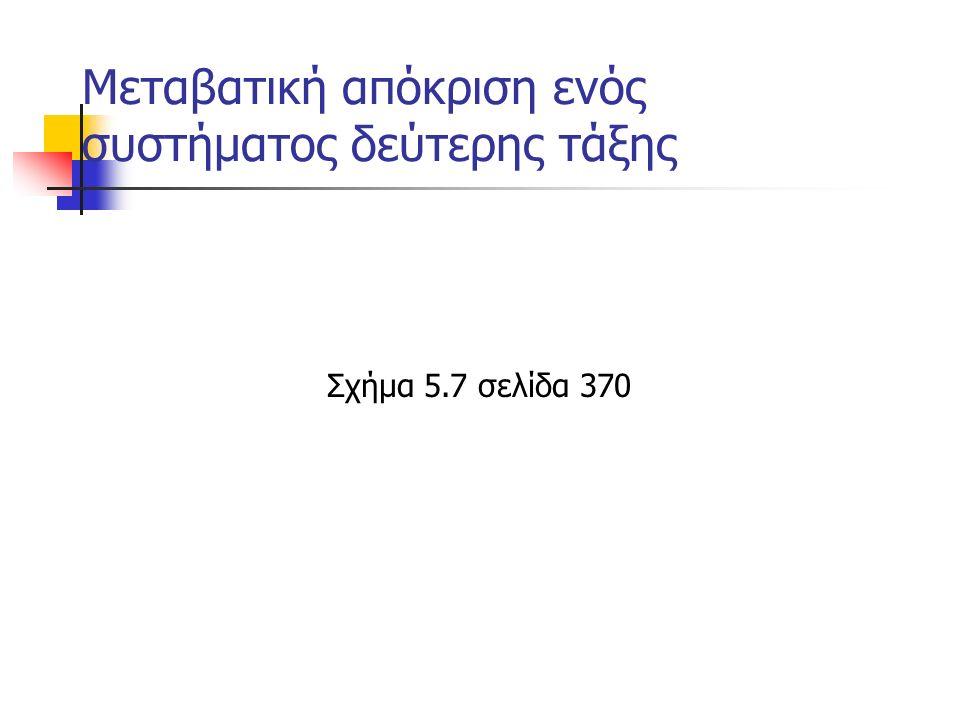 Μεταβατική απόκριση ενός συστήματος δεύτερης τάξης Σχήμα 5.7 σελίδα 370