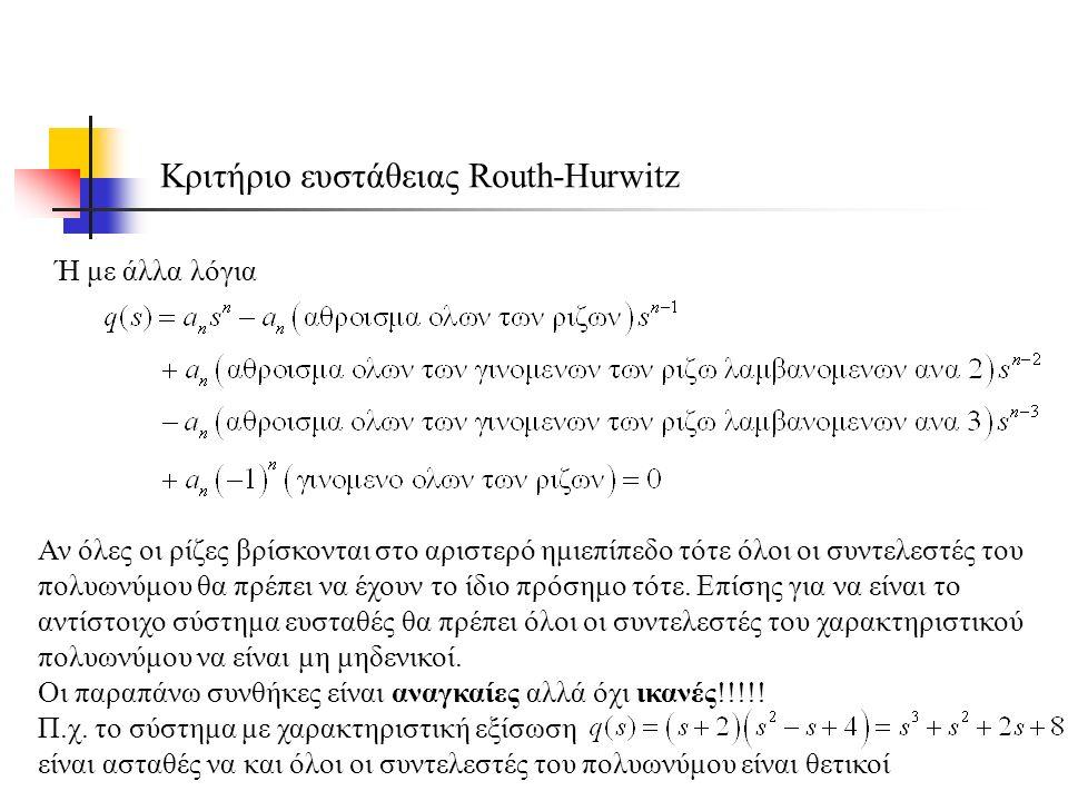 Κριτήριο ευστάθειας Routh-Hurwitz Ή με άλλα λόγια Αν όλες οι ρίζες βρίσκονται στο αριστερό ημιεπίπεδο τότε όλοι οι συντελεστές του πολυωνύμου θα πρέπει να έχουν το ίδιο πρόσημο τότε.