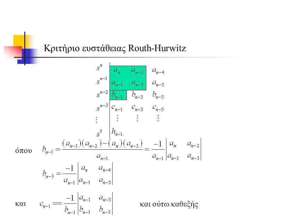 Κριτήριο ευστάθειας Routh-Hurwitz όπου και και ούτω καθεξής