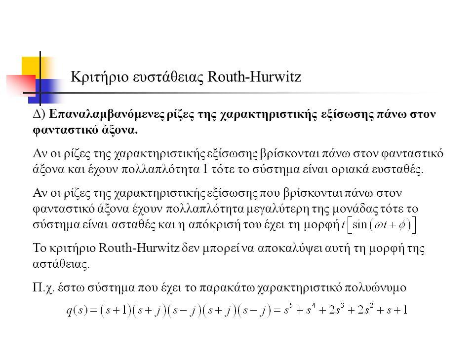 Δ) Επαναλαμβανόμενες ρίζες της χαρακτηριστικής εξίσωσης πάνω στον φανταστικό άξονα.