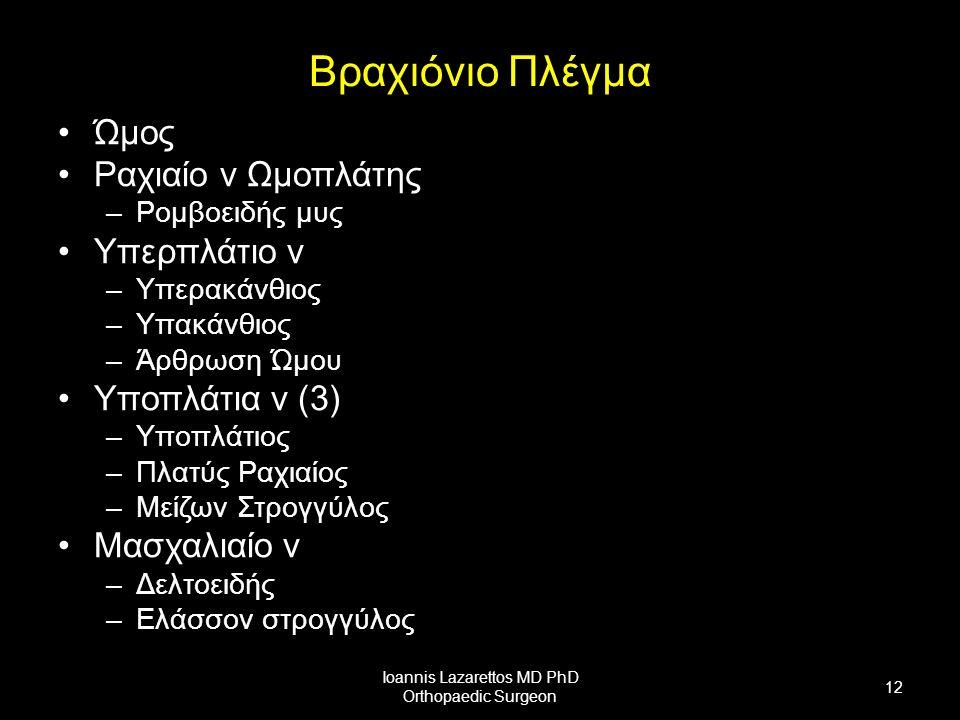 Βραχιόνιο Πλέγμα Ώμος Ραχιαίο ν Ωμοπλάτης –Ρομβοειδής μυς Υπερπλάτιο ν –Υπερακάνθιος –Υπακάνθιος –Άρθρωση Ώμου Υποπλάτια ν (3) –Υποπλάτιος –Πλατύς Ραχιαίος –Μείζων Στρογγύλος Μασχαλιαίο ν –Δελτοειδής –Ελάσσον στρογγύλος Ioannis Lazarettos MD PhD Orthopaedic Surgeon 12