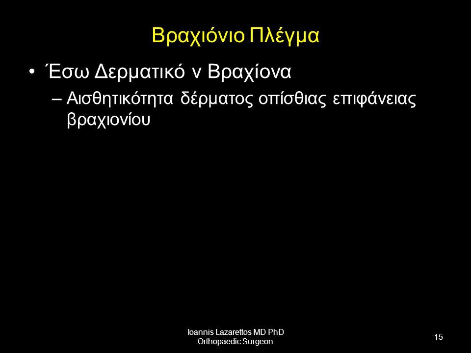 Βραχιόνιο Πλέγμα Έσω Δερματικό ν Βραχίονα –Αισθητικότητα δέρματος οπίσθιας επιφάνειας βραχιονίου Ioannis Lazarettos MD PhD Orthopaedic Surgeon 15