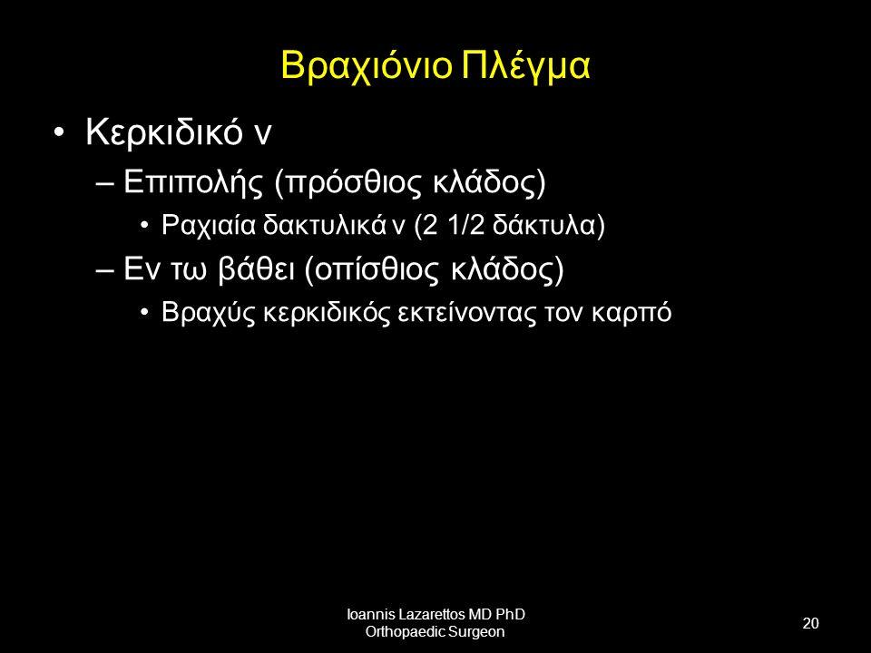 Βραχιόνιο Πλέγμα Κερκιδικό ν –Επιπολής (πρόσθιος κλάδος) Ραχιαία δακτυλικά ν (2 1/2 δάκτυλα) –Εν τω βάθει (οπίσθιος κλάδος) Βραχύς κερκιδικός εκτείνοντας τον καρπό Ioannis Lazarettos MD PhD Orthopaedic Surgeon 20