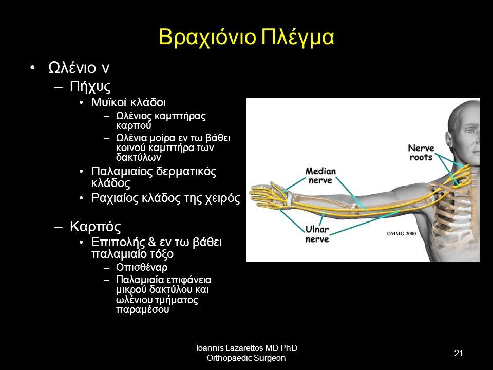 Βραχιόνιο Πλέγμα Ωλένιο ν –Πήχυς Μυϊκοί κλάδοι –Ωλένιος καμπτήρας καρπού –Ωλένια μοίρα εν τω βάθει κοινού καμπτήρα των δακτύλων Παλαμιαίος δερματικός κλάδος Ραχιαίος κλάδος της χειρός –Καρπός Επιπολής & εν τω βάθει παλαμιαίο τόξο –Οπισθέναρ –Παλαμιαία επιφάνεια μικρού δακτύλου και ωλένιου τμήματος παραμέσου Ioannis Lazarettos MD PhD Orthopaedic Surgeon 21