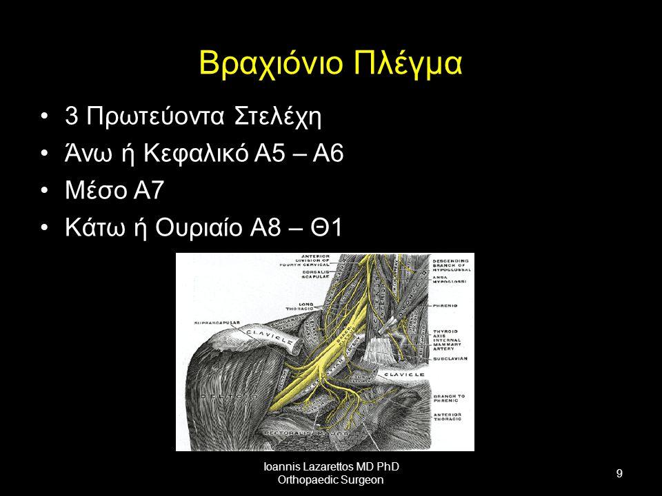 Βραχιόνιο Πλέγμα 3 Πρωτεύοντα Στελέχη Άνω ή Κεφαλικό Α5 – Α6 Μέσο Α7 Κάτω ή Ουριαίο Α8 – Θ1 Ioannis Lazarettos MD PhD Orthopaedic Surgeon 9