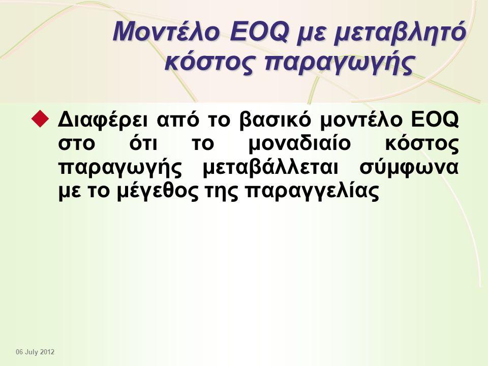 12 - 40 Μοντέλο EOQ με μεταβλητό κόστος παραγωγής  Διαφέρει από το βασικό μοντέλο EOQ στο ότι το μοναδιαίο κόστος παραγωγής μεταβάλλεται σύμφωνα με το μέγεθος της παραγγελίας 06 July 2012