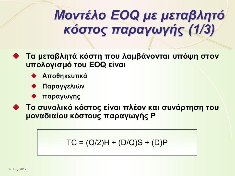 12 - 41 Μοντέλο EOQ με μεταβλητό κόστος παραγωγής (1/3)  Τα μεταβλητά κόστη που λαμβάνονται υπόψη στον υπολογισμό του EOQ είναι  Αποθηκευτικά  Παραγγελιών  παραγωγής  Το συνολικό κόστος είναι πλέον και συνάρτηση του μοναδιαίου κόστους παραγωγής P TC = (Q/2)Η + (D/Q)S + (D)P 06 July 2012