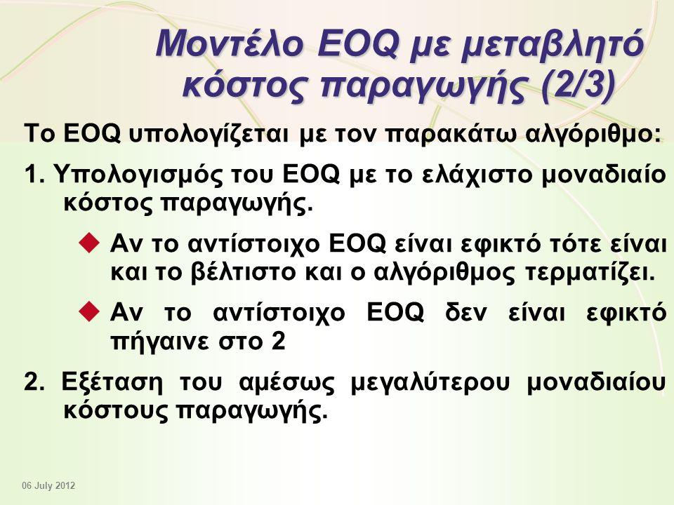 12 - 42 Μοντέλο EOQ με μεταβλητό κόστος παραγωγής (2/3) Το EOQ υπολογίζεται με τον παρακάτω αλγόριθμο: 1.