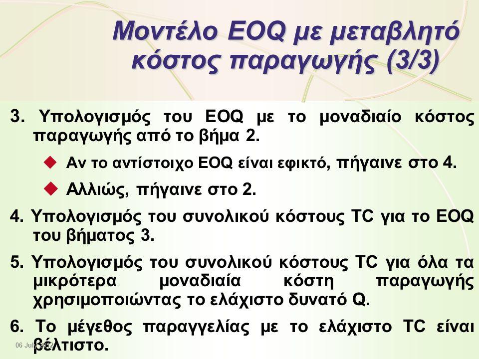 12 - 43 Μοντέλο EOQ με μεταβλητό κόστος παραγωγής (3/3) 3.