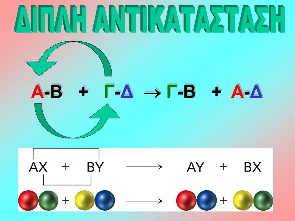 Οι αντιδράσεις διπλής αντικατάστασης γίνονται ανάμεσα σε ηλεκτρολύτες με ανταλλαγή ιόντων (συνήθως μέσα σε υδατικά διαλύματα).