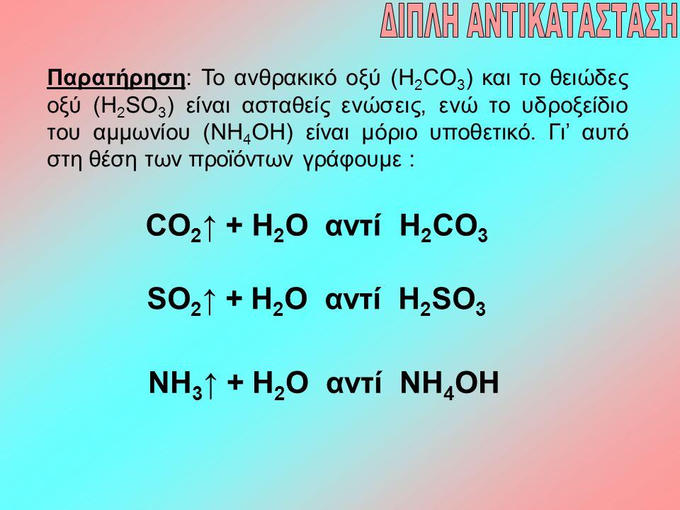 Παρατήρηση: Το ανθρακικό οξύ (H 2 CO 3 ) και το θειώδες οξύ (H 2 SO 3 ) είναι ασταθείς ενώσεις, ενώ το υδροξείδιο του αμμωνίου (NH 4 OH) είναι μόριο υ