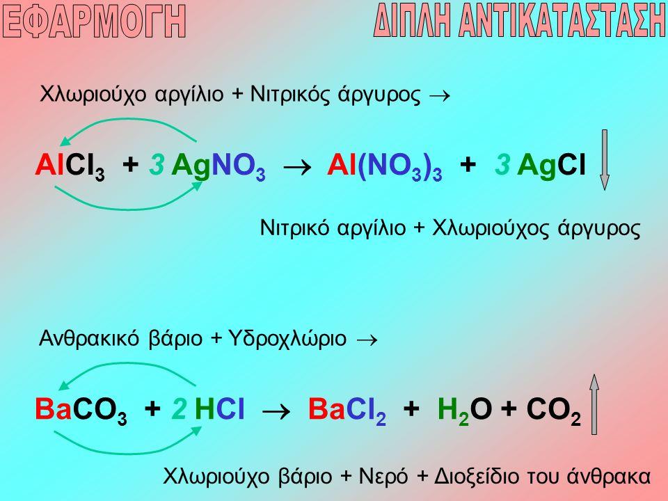 AlCI 3 + 3 AgNO 3  Al(NO 3 ) 3 + 3 AgCl Χλωριούχο αργίλιο + Νιτρικός άργυρος  Νιτρικό αργίλιο + Χλωριούχος άργυρος BaCO 3 + 2 HCl  BaCl 2 + H 2 O +