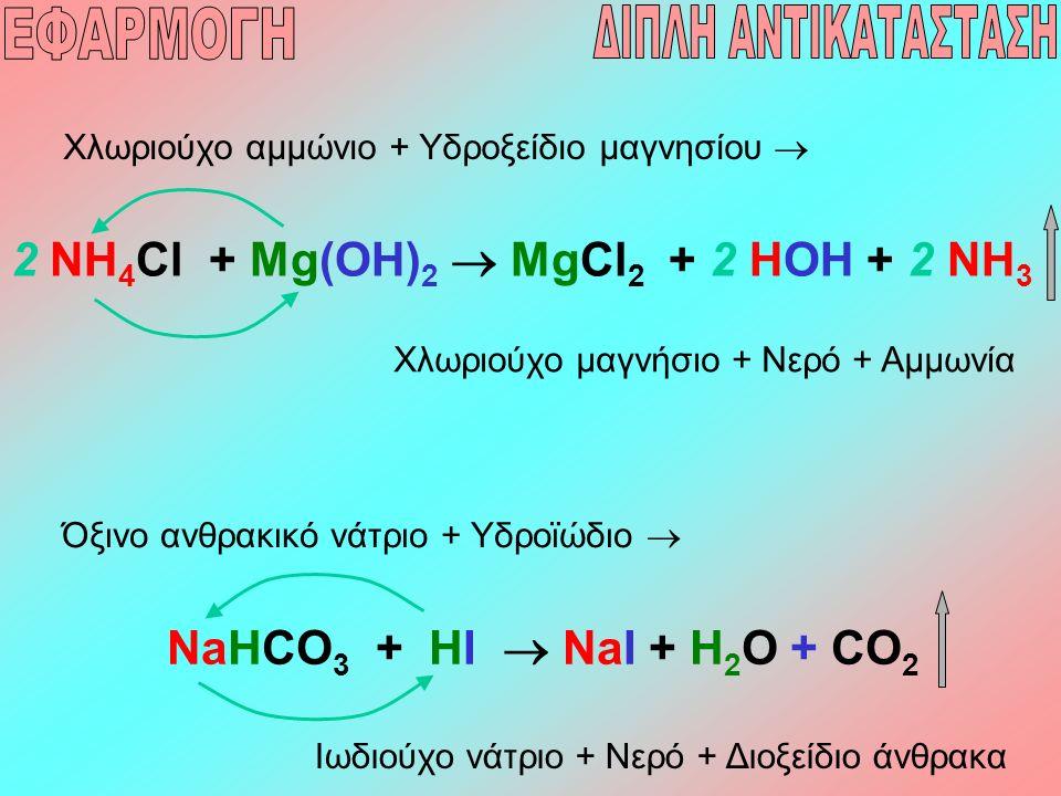 2 NH 4 Cl + Mg(OH) 2  MgCl 2 + 2 HOH + 2 NH 3 Χλωριούχο αμμώνιο + Υδροξείδιο μαγνησίου  Χλωριούχο μαγνήσιο + Νερό + Αμμωνία NaHCO 3 + HI  NaI + H 2