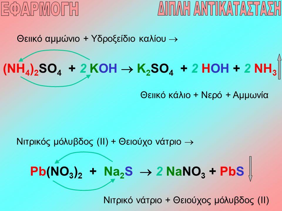 (NH 4 ) 2 SO 4 + 2 KOH  K 2 SO 4 + 2 HOH + 2 NH 3 Θειικό αμμώνιο + Υδροξείδιο καλίου  Θειικό κάλιο + Νερό + Αμμωνία Pb(NO 3 ) 2 + Na 2 S  2 NaNO 3