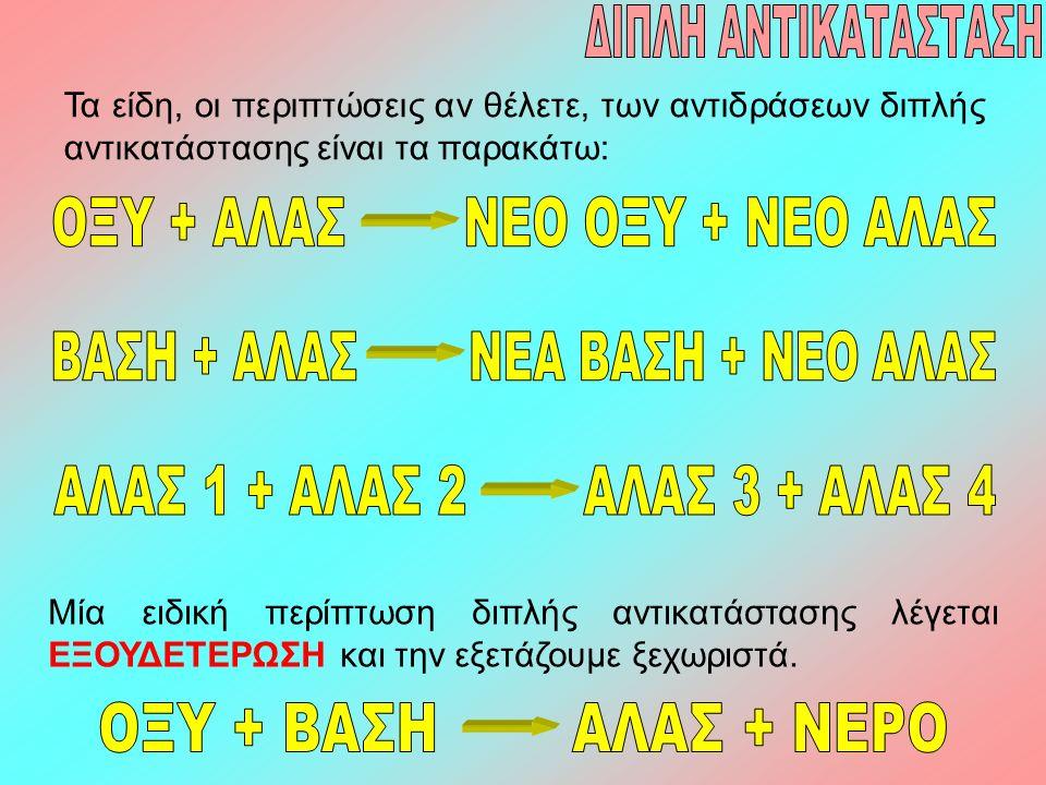 Τα είδη, οι περιπτώσεις αν θέλετε, των αντιδράσεων διπλής αντικατάστασης είναι τα παρακάτω: Μία ειδική περίπτωση διπλής αντικατάστασης λέγεται ΕΞΟΥΔΕΤ