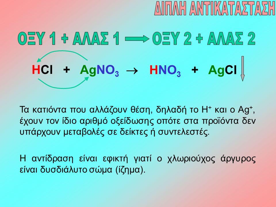 HCl + AgNO 3  HNO 3 + AgCl Τα κατιόντα που αλλάζουν θέση, δηλαδή το Η + και ο Ag +, έχουν τον ίδιο αριθμό οξείδωσης οπότε στα προϊόντα δεν υπάρχουν μ