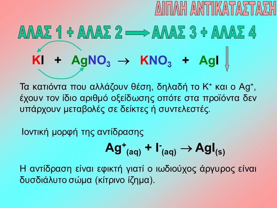 KI + AgNO 3  KNO 3 + AgI Τα κατιόντα που αλλάζουν θέση, δηλαδή το K + και ο Ag +, έχουν τον ίδιο αριθμό οξείδωσης οπότε στα προϊόντα δεν υπάρχουν μετ