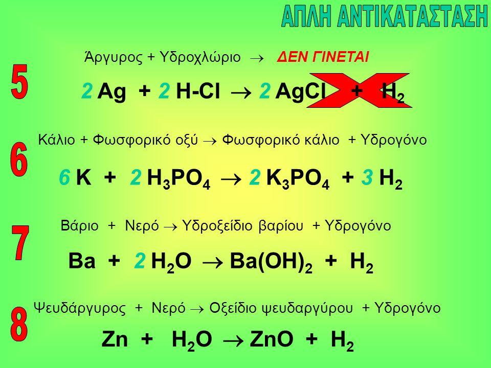 2 Ag + 2 H-Cl  2 AgCl + H 2 Ba + 2 Η 2 Ο  Ba(OH) 2 + H 2 Άργυρος + Υδροχλώριο  ΔΕΝ ΓΙΝΕΤΑΙ Βάριο + Νερό  Υδροξείδιο βαρίου + Υδρογόνο 6 K + 2 H 3