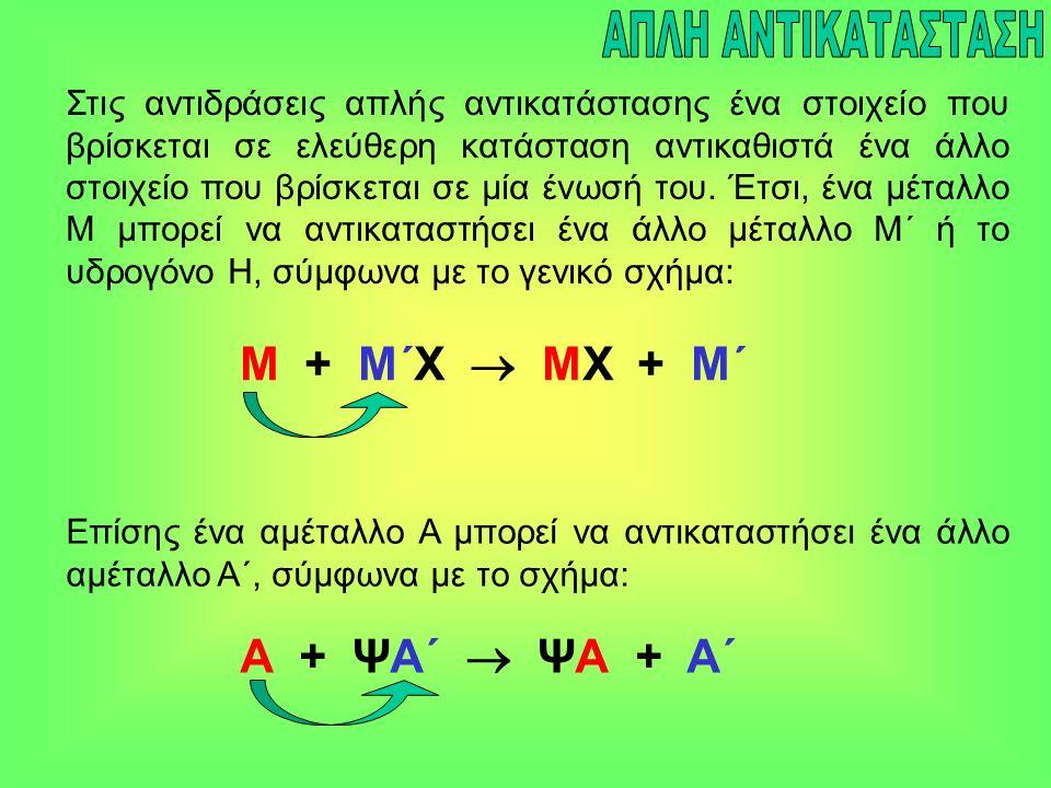 Στις αντιδράσεις απλής αντικατάστασης ένα στοιχείο που βρίσκεται σε ελεύθερη κατάσταση αντικαθιστά ένα άλλο στοιχείο που βρίσκεται σε μία ένωσή του.