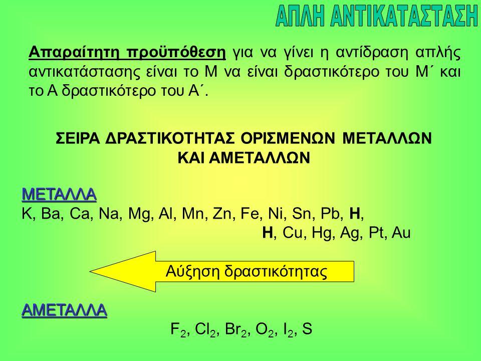 Μέταλλο 1 + Άλας 1  Άλας 2 + Μέταλλο 2 Zn (s) + CuSO 4 (aq)  ZnSO 4 (aq) + Cu (s) Zn (s) + Cu +2 (aq)  Zn +2 (aq) + Cu (s)