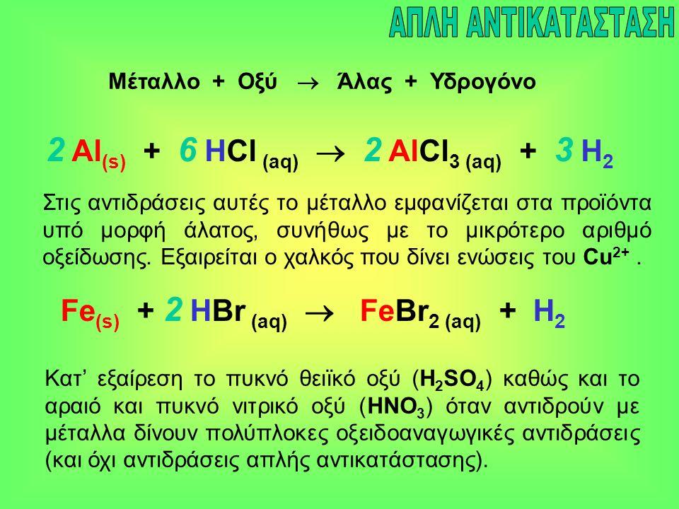 Μέταλλο + Οξύ  Άλας + Υδρογόνο 2 Al (s) + 6 HCl (aq)  2 AlCl 3 (aq) + 3 H 2 Fe (s) + 2 HBr (aq)  FeBr 2 (aq) + H 2 Στις αντιδράσεις αυτές το μέταλλ